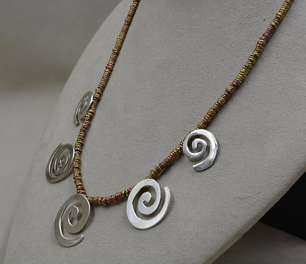 Sterling Silver 5 Spiral on Brass & Copper Beads by Richard Lindsay