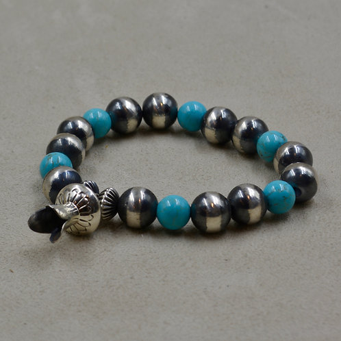 10mm Oxidized Silver, Turquoise, Squash Blossom Stretch Bracelet by Shoofly 505