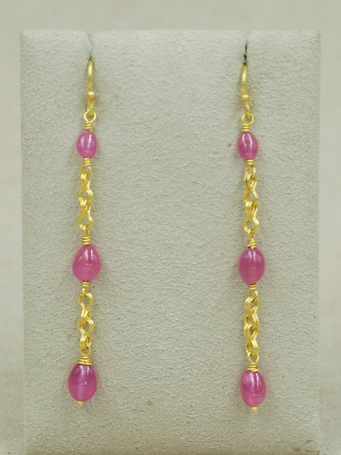 20/22k Ruby 10.5 Carats Sailors Knot Earrings by Veronica Benally