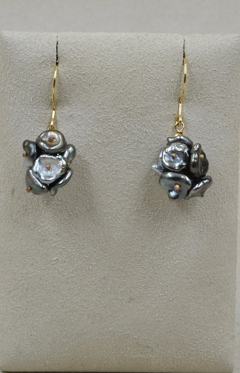 Tah Keshi Pearl Cluster Wires - 14k Gold by US Pearl Co.
