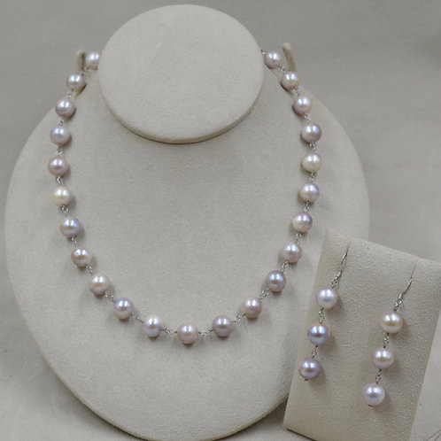 8-10mm Natural Pearls Earrings & Necklace Set by US Pearl Co.