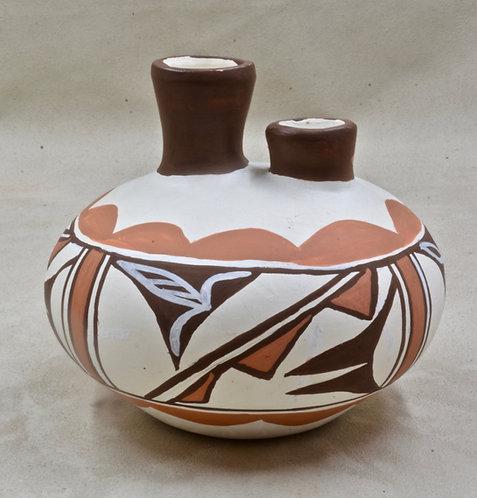 Isleta Pueblo Vase with Two Spouts by P. Jojolla, 1980