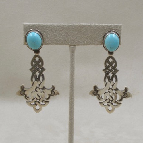 Azure Blue Turquoise w/ Sterling Silver Celtic LilyDrop Earrings by Jerry Faires