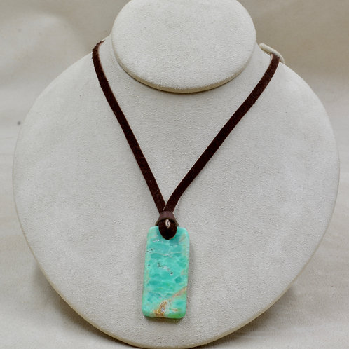 California Chrysoprase Rectangle Necklace on Leather Necklace by Joe Glover