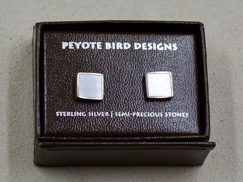 Flat Square Mother of Pearl Post Earrings by Peyote Bird Designs