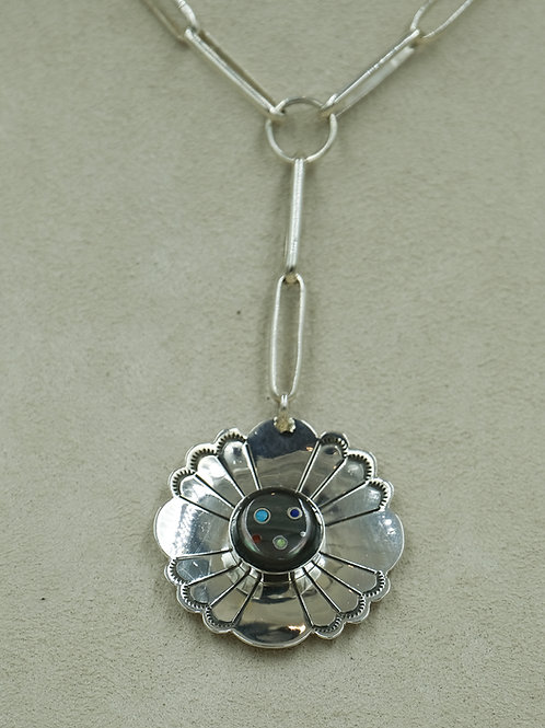 Handmade Chain & Flower w/ Onyx, Coral & Turquoise Necklace by Veronica Benally