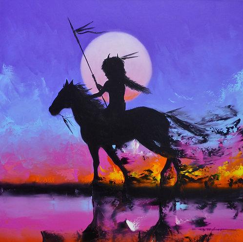 """Moonlight Visions"" Oil on Canvas - 20"" x 16"" - Tim Nevaquaya"