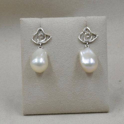 S. Silver Flower w/ Freshwater Baroque 11+mm Pearl Earrings by Reba Engel