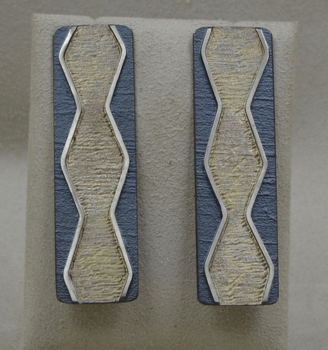 Double Wave Long Oxidized Color Posts Earrings by Mark Roanhorse Crawford