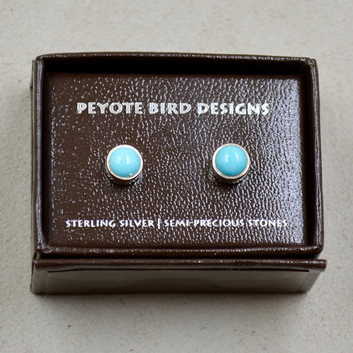Mini Sleeping Beauty Turquoise Round Stud Earrings by Peyote Bird Designs