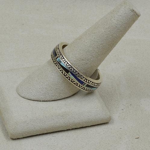 Black Jade, Lap Opal, & Sterling Silver 14x Ring by GL Miller Studio