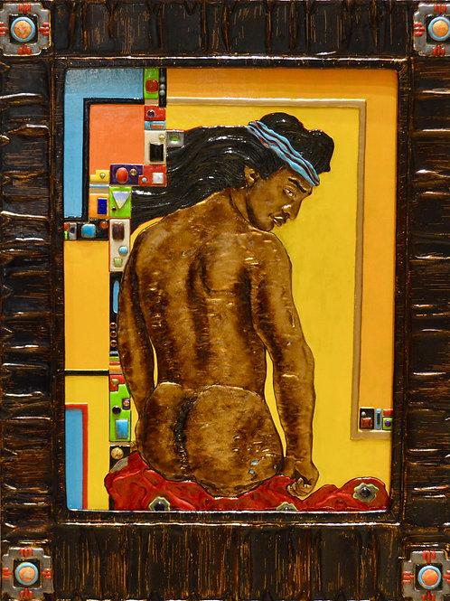 """""""Indian Blanket"""" Plaster & Enamel Paints w/ Asst Stones by Scott Day"""