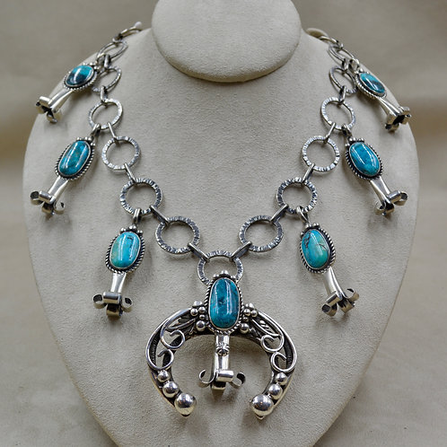 6 Blossom Link w/ Removable Naja, Morenci Turquoise Necklace by Cheryl Arviso
