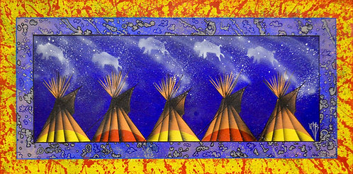 """""""Night Fires"""" Ac on Canvas 15"""" x 30"""" - by Quanah Parker Burgess"""