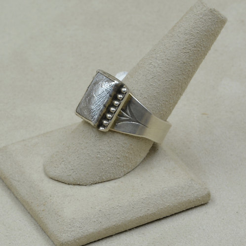 Meteorite and Sterling Silver 11 1/2x Ring by Joe Glover