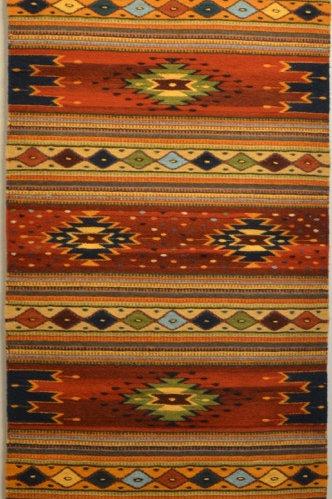 """Red Paneled Geometric Zapotec Runner - 30"""" X 10"""""""