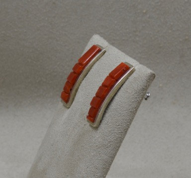 Sterling Silver & Coral Earrings by Dukepoo