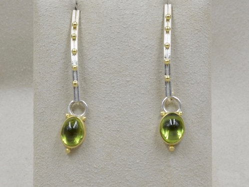 Argentium Silver, 18k Gold, & Peridot Post Earrings by Michele McMillan