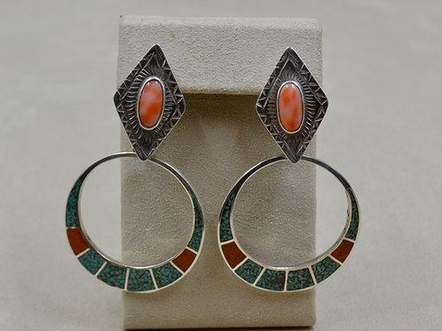 S Silver Chip Inlay Hoops w/ Coral Diameter Top Earrings by Melanie DeLuca
