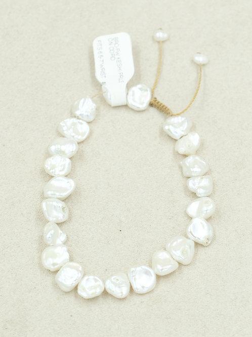 Fresh Water Keshi Pearls on Cord Bracelet by True West Jewelry