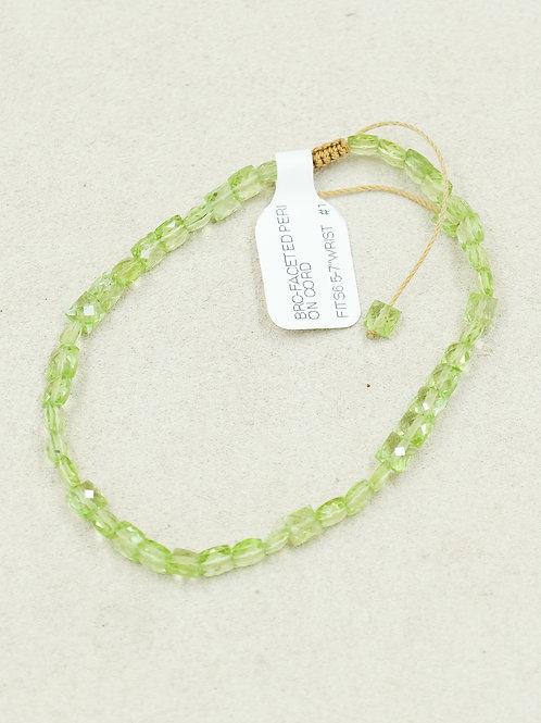 Peridot Faceted On Cord Bracelet by True West Jewelry