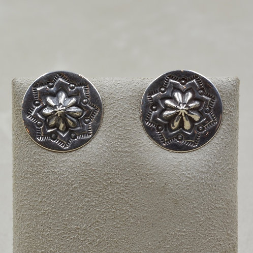 Sterling Silver Stamped Concho Post Earrings by Lapidary Mastery