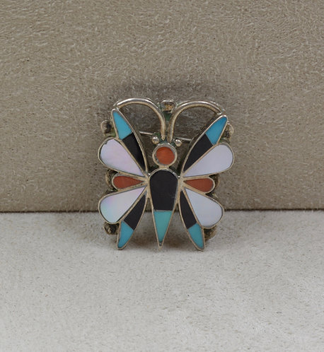 Vintage Zuni Butterfly Inlay Pin/Pendant w/ Pearl, Coral, Turquoise, Jet