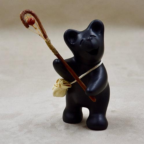 Mini Black Bear La Crosse Player by Randy Chitto