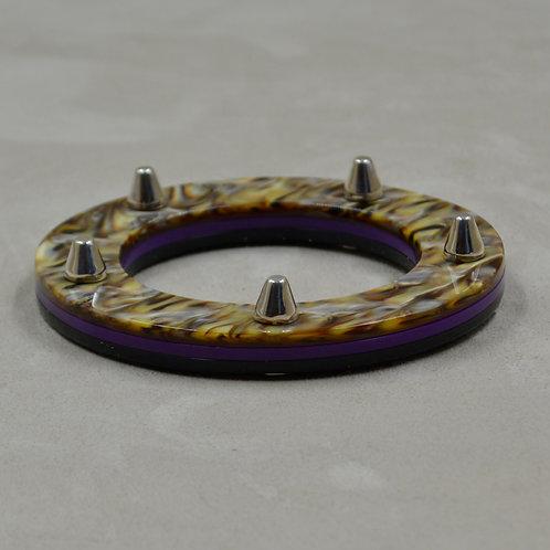 Triple Acetate & Sterling Silver Bangle Bracelet by Melanie DeLuca