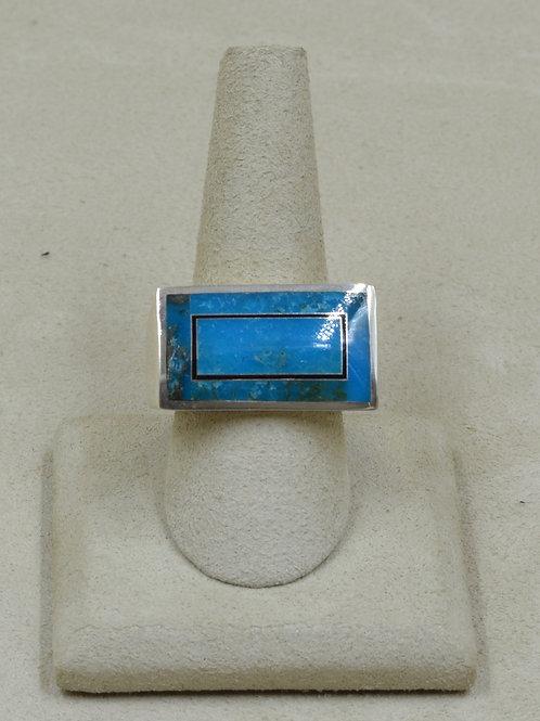 Kingman Turquoise, Black Jade, & S. Silver 12.5x Ring by GL Miller Studio