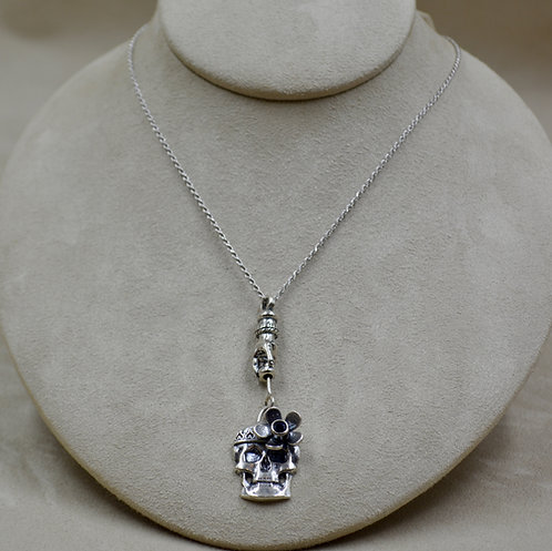"""Sterling Silver Flower Skull and Hand Pendant on 18"""" Chain by Michele McMillan"""