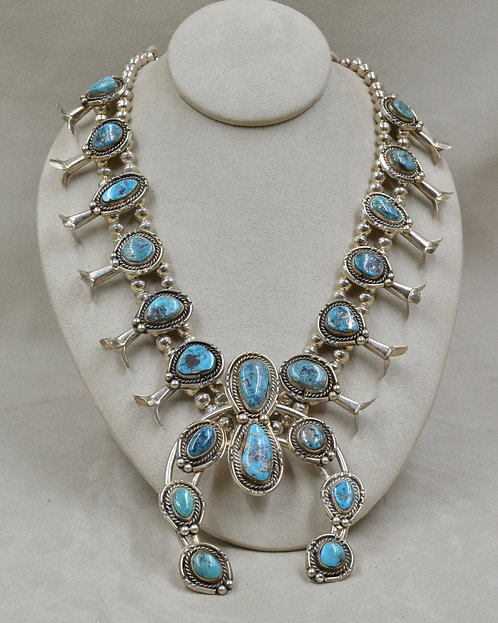 Vintage 60's/70's Old Kingman Turquoise & Sterling Silver Squash Necklace