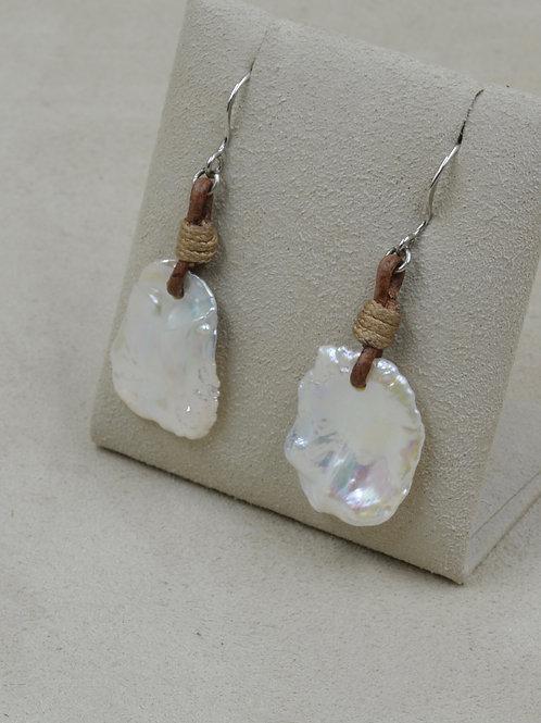 Freshwater Metallic White Keshi Pearl & Leather Earrings by US Pearl Co.