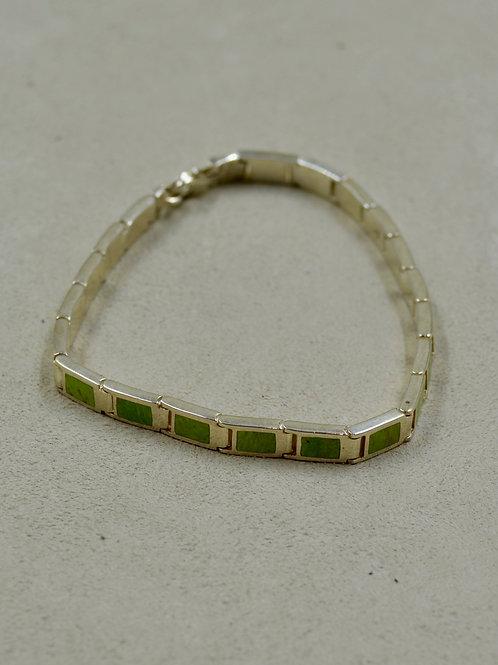 Gaspeite Flat Rectangle Tennis Bracelet by Peyote Bird