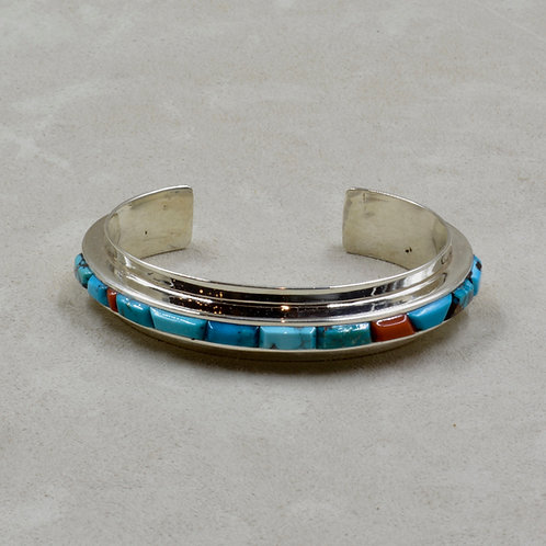 Narrow Cobbled Cuff w/ Asst. Bisbee Turquoise & Coral by Tim Busch