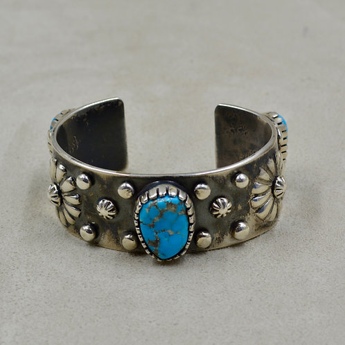 Repossee 3 Stone Morenci Turquoise & Sterling Silver Cuff by Erik Fender
