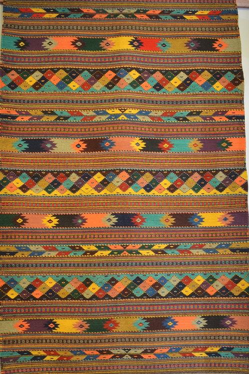 "Geometric Zapotec Weaving with Fringe - 78"" X 54"""