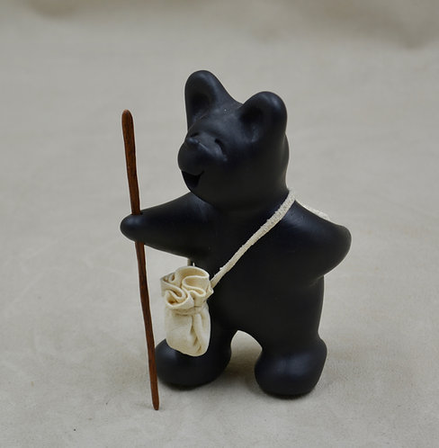 Mini Black Bear with Walking Stick by Randy Chitto