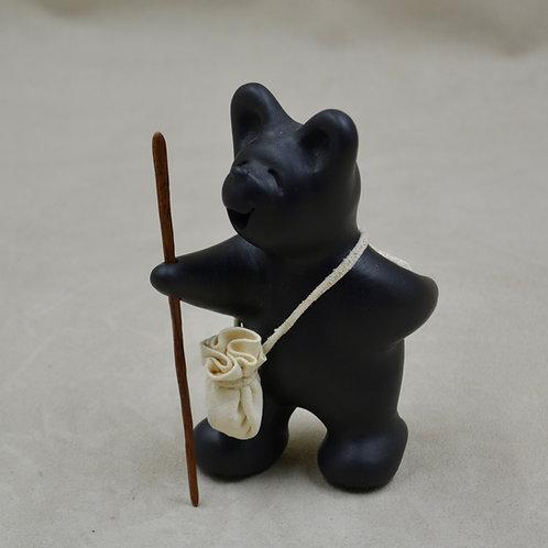 Mini Black Bear with Walking Stick by Randy Chitto