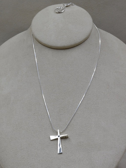 Sterling Silver Small Trinity Cross w/ Sapphire Necklace by Charles Sherman
