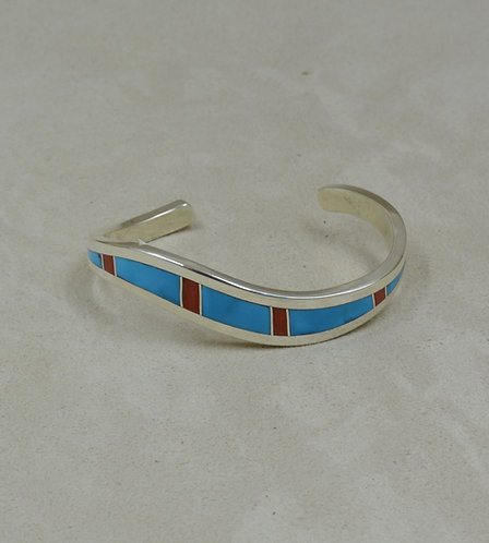 SS Wave Cuff w/ Natural Sleeping Beauty Turquoise & Coral Inlay by Tim Busch