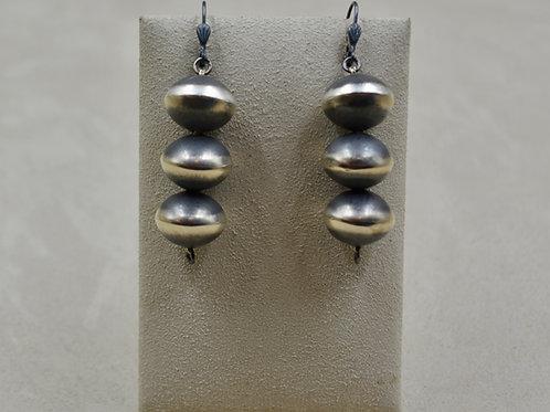 Navajo Pearl Oxidized Sterling Silver Three Ball Drop Earrings