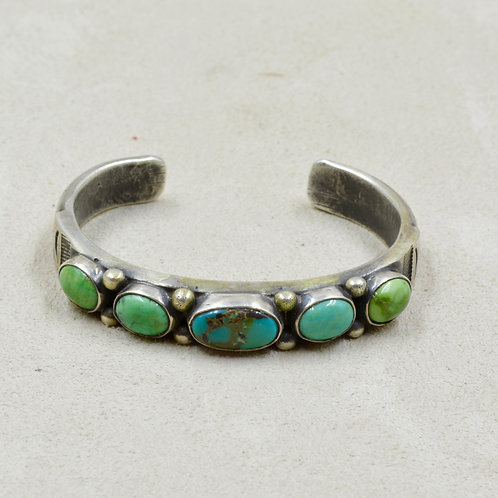 S.S Ingot Cuff w/ 5 Stone Stab Carico Lake Turquoise Ctr by Red Rabbit Trading