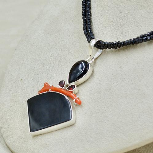 Medium Coral, Black Onyx, Garnet Pendant by Sanchi & Filia