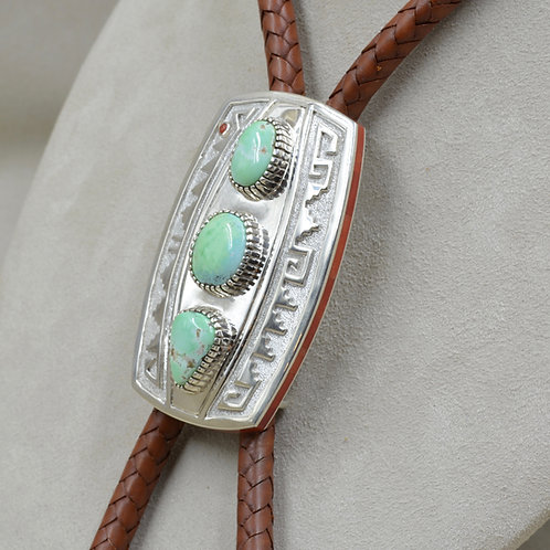 Mint Carico Lake Natural Turquoise Bolo- All Hand Fabricated Cuff by Mike Perry