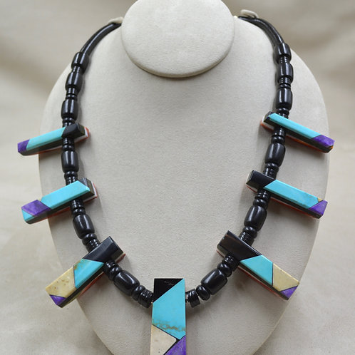 Reversible Spiny Oyster, Jet, Turquoise, Sugilite, Ivory Necklace by Ca'Win