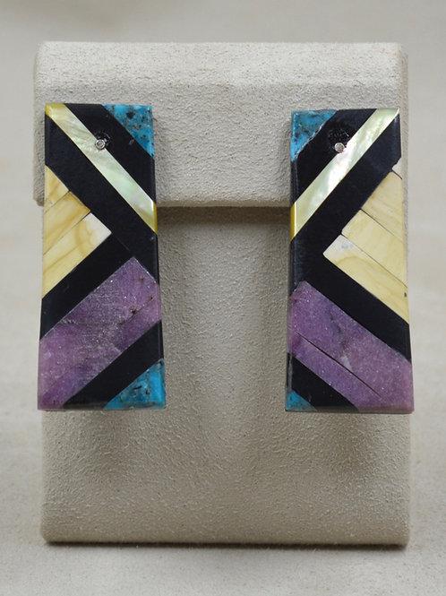 Post Large Inlay w/ Mixed Stone Earrings by Estefanita Ca'Win