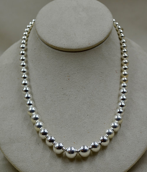 Graduated Sterling Silver Beaded Necklace by Sippecan Designs