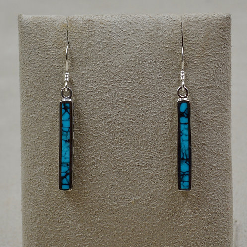 Blue Turquoise w/ Matrix & S. Silver Dancing Stick Petite Earrings by Lente