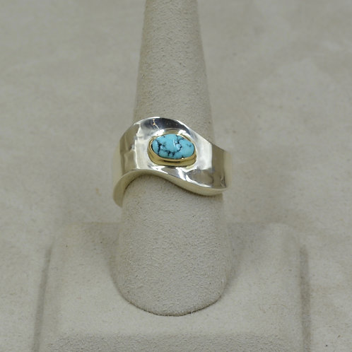 S. Silver Dished 8x Ring w/ Nat. Lone Mtn. Turquoise, 14k Bezel by Tim Busch